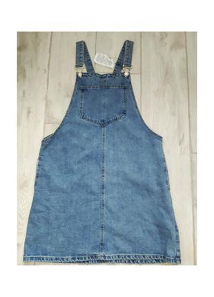 Актуальные джинсовый сарафан платье, с карманом, стильный, модный, трендовый denim co