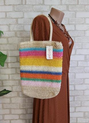 """Новая с биркой соломенная сумка в яркий летний принт """"радуга"""""""