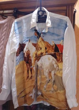 Рубашка винтаж вестерн индеец на лошади western passion