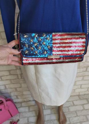 """Фирменный accessorize стильный нарядный клатч/сумка через плечё в паетки """"флаг сша"""""""