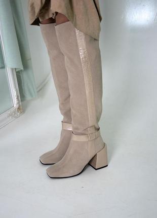Замшевые высокие сапоги ботфорты на каблуке натуральная замша кожа