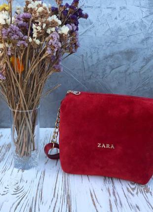 Новый красный замшевый клатч, сумочка