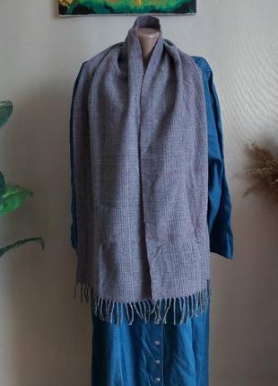 Новый мега тёплый шарф со 100 % шерсти в нежно сиреневом цвете в мелкую клетку