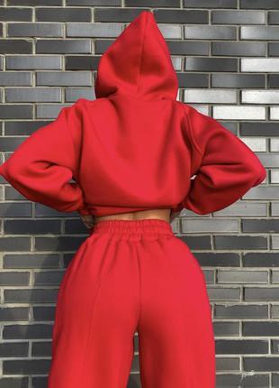 Женский тёплый спортивный костюм на флисе свободного кроя oversize👍худи с карманом кенгуру штаны джоггеры 👍10 расцветок