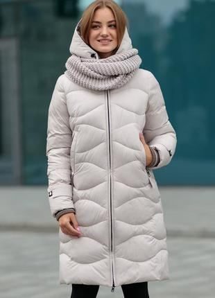 Пуховик зимний молодежный 2108 lidiastyle с шарфом размеры 44- 54