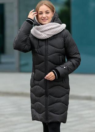 Зимний молодежный пуховик 2108 lidiastyle на биопухе с шарфом размеры 44- 54
