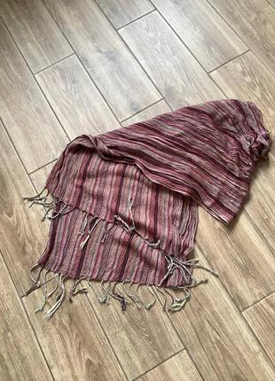 Объемный шарф палантин с бахромой