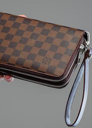 Мужской стильный клатч brown квадрат