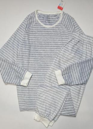 Пижама женская велюровая серая в полоску англия размер s/m