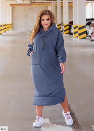 Тёплое свободное платье с карманом