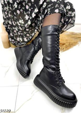 Стильные женские ботинки сапоги берцы на шнуровке на рифлёной подошве