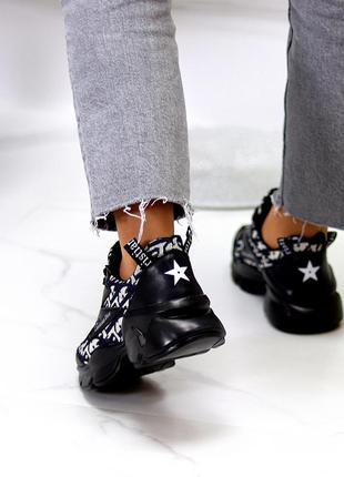 Ультра модные черные текстильные женские кроссовки сникерсы в ассортименте