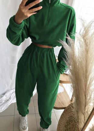 Флис! женский спортивный костюм свободного кроя👍осень 2021👍