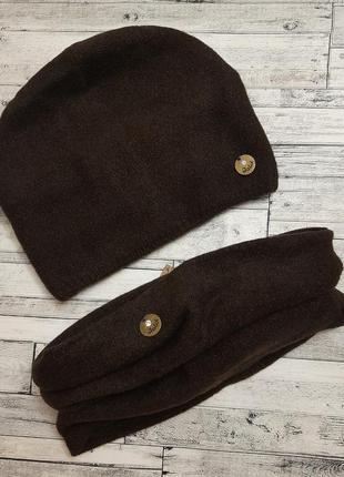 Женский зимний набор, шапка и баф, снуд, на флисе, натуральная шерсть, ангора, кофе, подарок девушке, подарунок