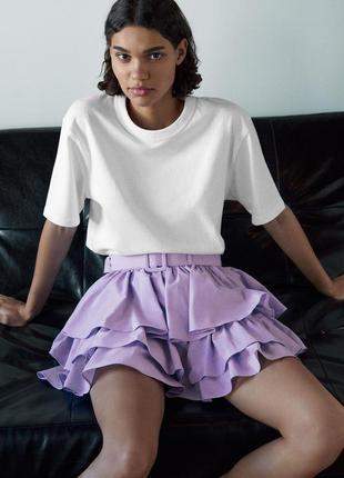 Самая популярная лавандовая мини юбка с оборками среди блоггеров от zara