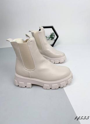 Женские ботинки кожаные amy, бежевый экокожа люкс качество