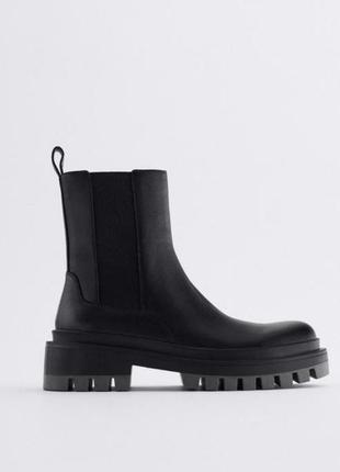 Zara 100% натуральные кожаные ботинки