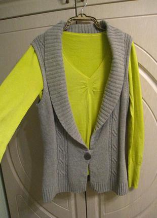 Яркий вискозный свитер с жилетом шерсть, р.48