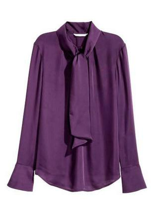 Фиолетовая блуза с бантом zara