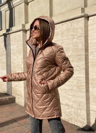 Куртка женская бежевая удлиненная деми