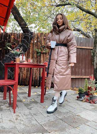 Пальто пуховик в стиле zara из эко кожи свободного кроя оверсайз осень/зима