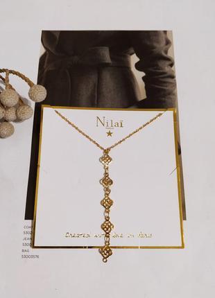 Ползолоченное колье nilai paris оригинал ожерелье покрытие золото 24 к цепочка подвеска