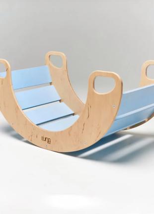 Дерев'яна блакитна качалка – ексклюзивна дерев'яна іграшка, гойдалка