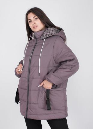 Тёмная демисезонная куртка большого размера батал полубатал в