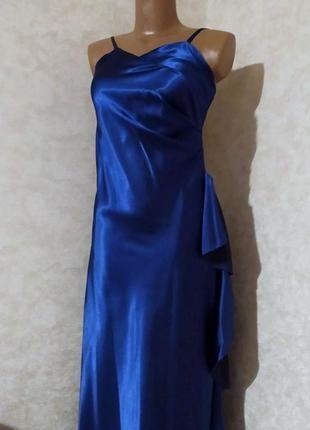 Синее атласное платье комбинация в бельевом стиле, lissa, paris, s