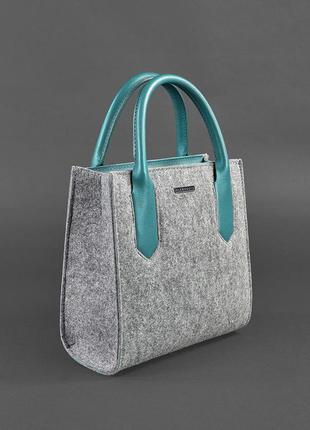 Фетровая женская сумка-кроссбоди blackwood с кожаными бирюзовыми вставками