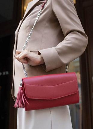 Женская кожаная сумка красная краст