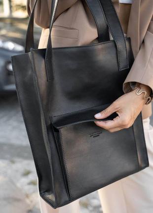 Кожаная женская сумка шоппер с карманом черная краст