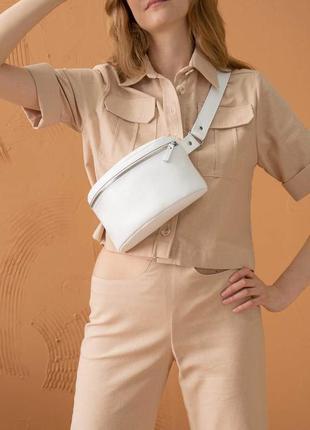 Кожаная поясная сумка белая