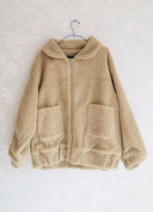 Куртка тедди пушистая махровая барашек овечка плюшевая оверсайз пальто шуба шубка искусственная осень осенняя демисезонная