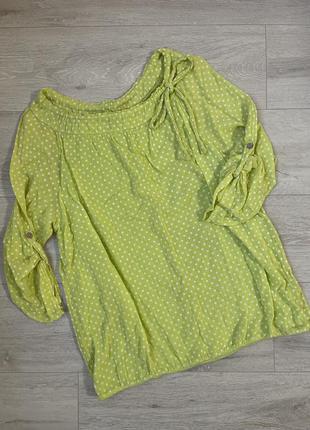 Хлопковая рубашка блузка в горошек большой размер
