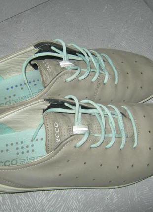 Ecco кроссовки кожаные туфли спортивные кожа натуральный нубук