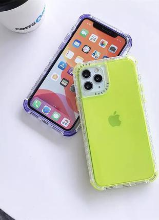 Салатовый лимонный прозрачный силиконовый противоударный чехол на айфон iphone 12 11 pro max xr xs