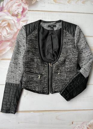 Оригинальный пиджак жакет с кожаными рукавами