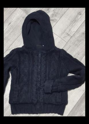 Кофточка -куртка на молнии и подкладке синего цвета на 7-8-9лет