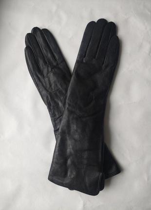 Кожаные удлиненные женские перчатки