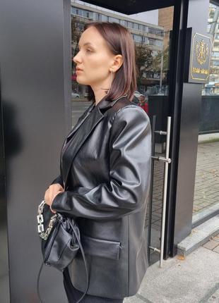 🔝трендовый свободный пиджак, жакет из чёрной кожи в стиле 90х 😍