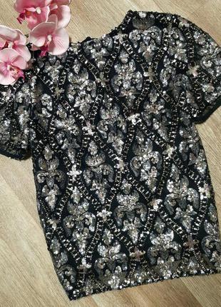 Шикарная блуза в пайетках f&f / футболка / кофта / нарядная кофта / блестящая блузка /