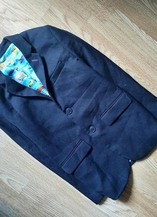 Пиджак красивый жакет принт машинки школьный мальчик 9-10лет