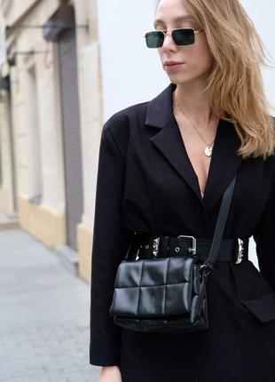 Маленькая черная сумочка через плечо кросс боди женская мини сумка на длинном ремешке