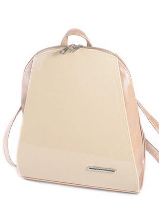 Молочный лаковый рюкзак женский молодежный городской модный рюкзачек с кофейными боками