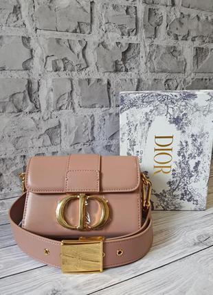 Женская бежевая кожаная сумочка в стиле dior montaigne mini box