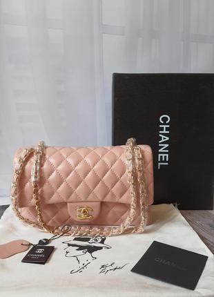 Женская розовая кожаная сумочка в стиле chanel chevron