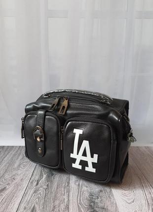 Женская черная кожаная сумочка polina & eiterou