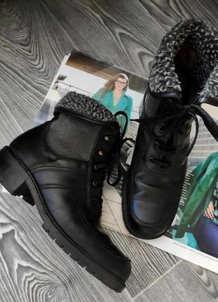 Ботинки сапоги челси на шнуровке  черные кожаные утепленные gabor 37