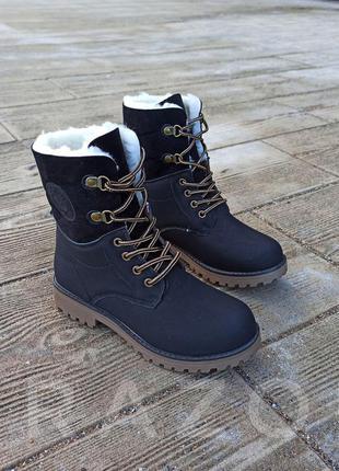 Высокие черные зимние ботинки на меху сапоги